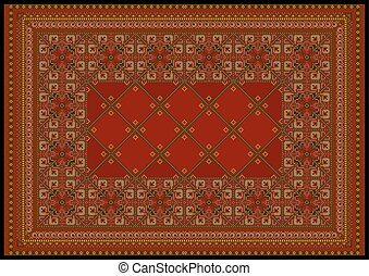 Ornament in red shades for rug