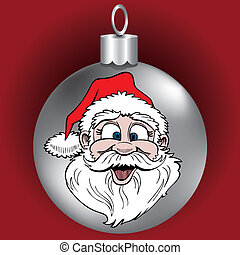 ornament, kerstman, gezicht