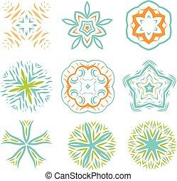 Ornament line art design colorful set