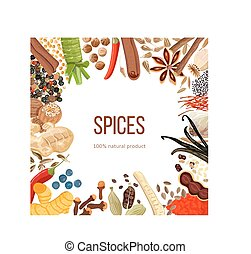 Ornament made of Spices with text 100 natural product -...