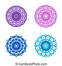 ornament, mandala, set, ronde