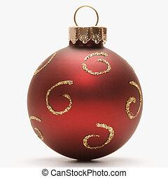 ornament., noël, rouges