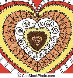 Ornament of hearts. Terra gamma