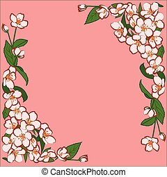Ornament of pink apple flowers