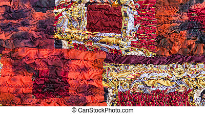 ornament of red brown patchwork scarf