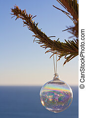 Ornament On A Tree In Front Of The Sea