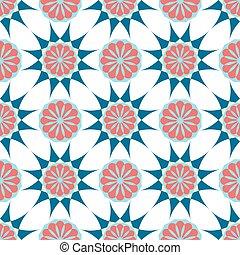 ornament., pattern., 織物, ベクトル, 花, アラビア, 幾何学的, print.