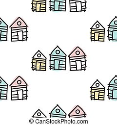 ornament., pattern., seamless, hand, hut, huisen, vector, getrokken, lijn, scandinavische
