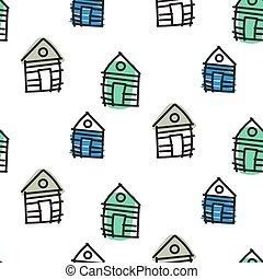 ornament., pattern., seamless, scandinavische, hut, huisen, vector, getrokken, lijn, hand