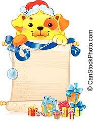ornament., perro, amarillo, navidad, tierra, rúbrica