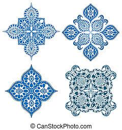 Ornament round set with mandala. Geometric circle element....