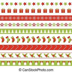 ornament, seamless, borders., vector, kerstmis, eindeloos
