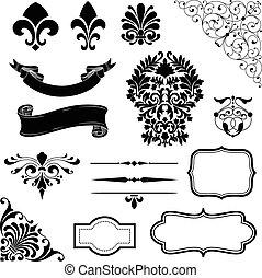 Ornament Set - Set of black vector ornaments - scrolls,...