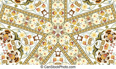 Screensaver for video in the form of an ornament similar to a mandala or arabesque. 4K video animation