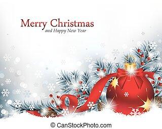 ornament, sneeuw, kerstmis