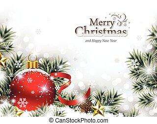 ornament, sneeuw, rood, kerstmis