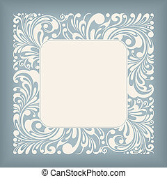 Ornament Square Label - Square Frame Floral Ornament Series,...