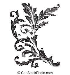 Ornament Vector Baroque Vintage Frame Scroll Engraving Border Floral Retro Pattern