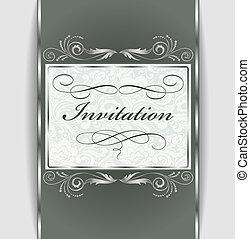 ornament, zilver, uitnodiging