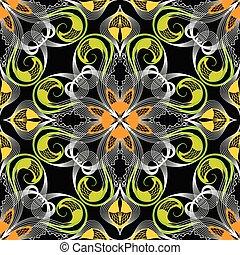 ornamenta, dentelle, pattern., seamless, élégance, vecteur,...