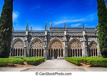 ornamentacyjny ogród, batalha, średniowieczny, portugalia, klasztor, gotyk, prospekt