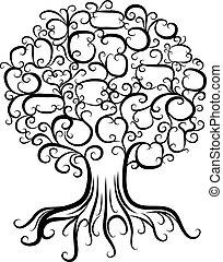 ornamental, árvore, com, raizes, para, seu, desenho