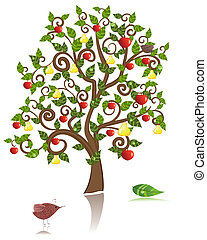 ornamental, árvore, com, um, maçã, e, pêra