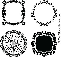 ornamental., フレーム, ベクトル, セット