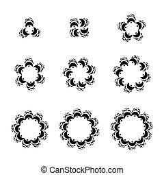 ornamental, abstrakt, symboler, vektor, skabelon, logo, geometriske, set., cirkelrund