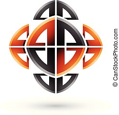 ornamental, abstratos, ilustração, arco, formas, vetorial, pretas, laranja