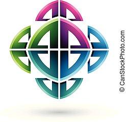 ornamental, abstratos, ilustração, arco, formas, vetorial, verde, magenta