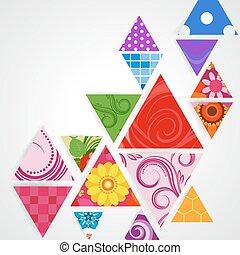 ornamental, abstratos, triangulo, fundo