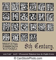 ornamental, alfabetos