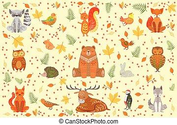 ornamental, animales, ilustración, patrones, bosque, cubierto