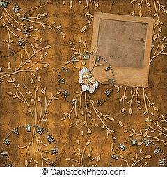 ornamental, antigas, leafage, escorregar, fundo, penduradas