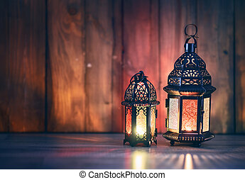 Arabic lantern with burning candle - Ornamental Arabic...