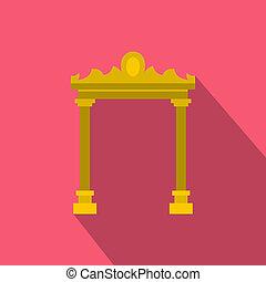 Ornamental arch icon, flat style