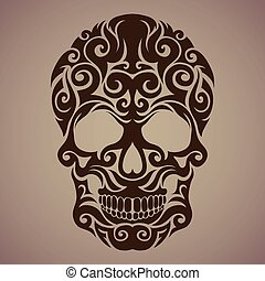 The ornamental art of a skull, possible for use as a tattoo. Vector image.