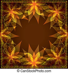 Ornamental background with decorative flowers