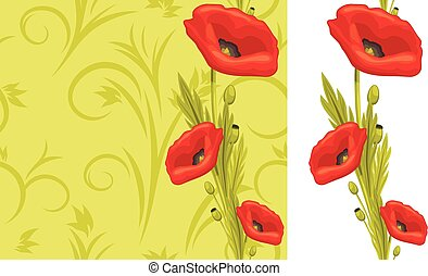 Ornamental background with poppies