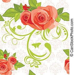 Ornamental background with roses