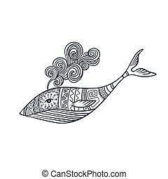 ornamental, ballena, patrones