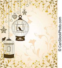 ornamental, birdcages, e, pássaros