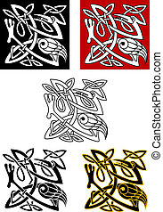 Ornamental birds in celtic style for ethnic and religious...