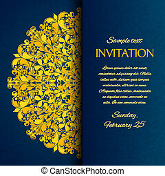 ornamental, blå, hos, guld, broderi, invitation, card