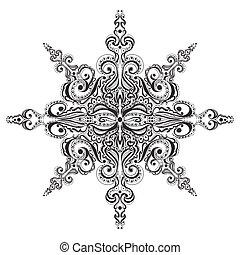Ornamental black and white snowflake