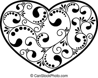 ornamental black heart isolated on white background. vector...