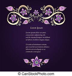 ornamental, blomstrede, baggrund, hos, flowers.