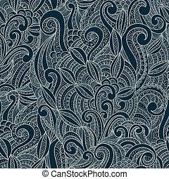 ornamental, blomstrede, ornamental, seamless, mønster