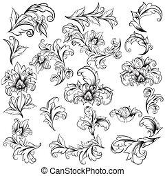 ornamental, blomstret konstruktion, elementer